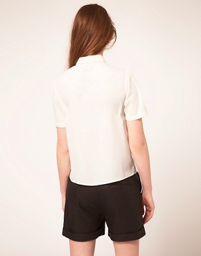 Image 2 ofASOS Blouse With Broderie Anglaise And Bow
