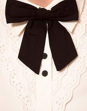 Image 3 ofASOS Blouse With Broderie Anglaise And Bow