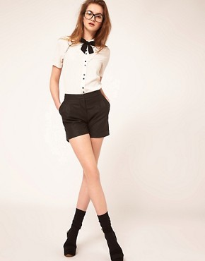 Image 4 ofASOS Blouse With Broderie Anglaise And Bow