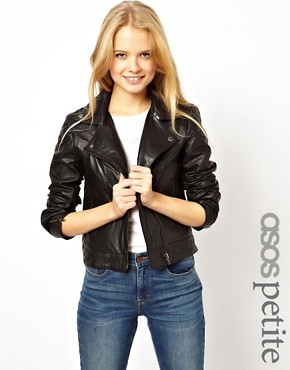 Image 1 ofASOS PETITE Leather Biker Jacket