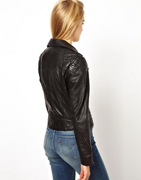 Image 2 ofASOS PETITE Leather Biker Jacket