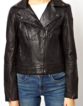 Image 3 ofASOS PETITE Leather Biker Jacket