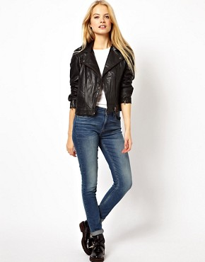 Image 4 ofASOS PETITE Leather Biker Jacket