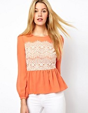 Darling Lace Panel Top with Frill Hem