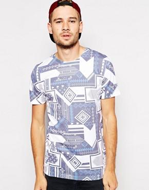 River Island T-Shirt With Tribal Slub Print