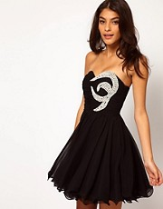Opulence England Chiffon Bandeau Pearl Dress