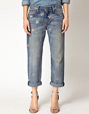 Current/Elliot Star Printed Boyfriend Jeans