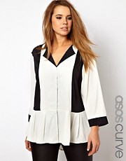 ASOS CURVE Exclusive Contrast Panel Blouse With Drop Collar