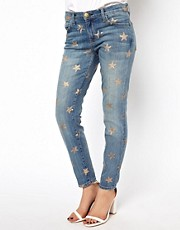 Current/Elliot Star Printed Stiletto Skinny Jeans