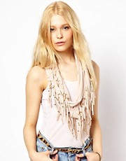 New Look Beaded Fringe Jersey Scarf