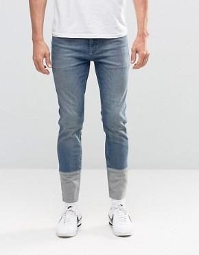 ASOS Skinny Jeans With Cut And Sew Turn Up In Mid Blue