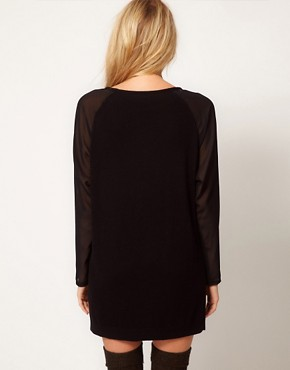 Image 2 ofASOS Sheer Sleeve Jumper Dress