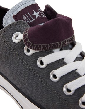 Image 2 ofConverse All Star Double Tongue Charcoal Trainers