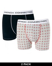French Connection Logo Print 2 Pack Trunks
