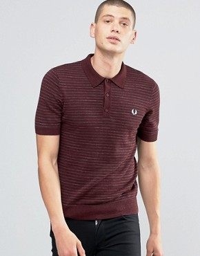 Fred Perry Knitted Polo Shirt With Stripe In Vintage Port Marl