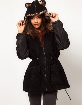 ASOS Leopard Ears Parka