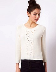 Club L Cable Knit Cropped Jumper With 3/4 Sleeves