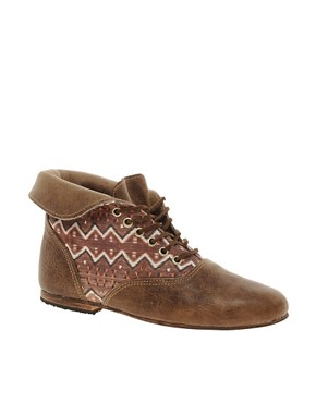 Image 1 ofOsborn Flat Foldover Tan Lace Ankle Boots