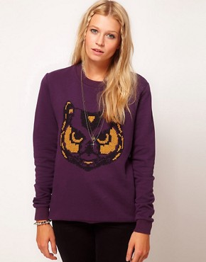 Image 1 ofASOS Sweatshirt with Embroidered Owl