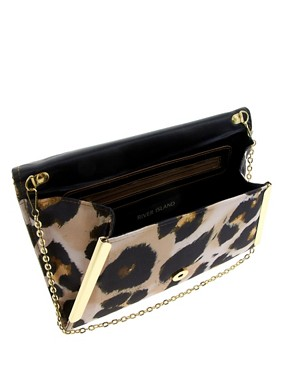 Image 2 ofRiver Island Oversize Leopard Clutch