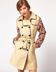 Maison Scotch Trench Coat with Aztec Sleeves