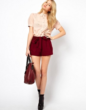 ASOS Belted Shorts With Turn Up :  high waist tie shorts belt