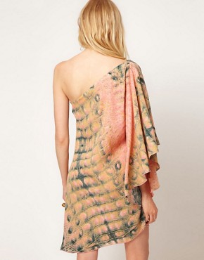Image 2 ofDagmar Crocodile Print 1 Shoulder Dress