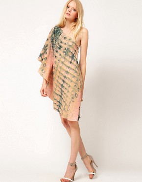 Image 4 ofDagmar Crocodile Print 1 Shoulder Dress