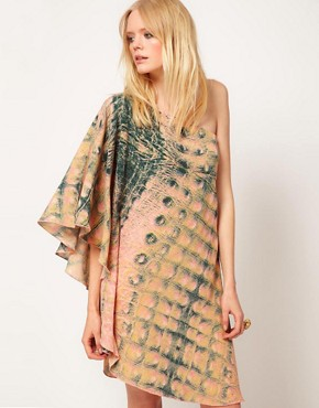 Image 1 ofDagmar Crocodile Print 1 Shoulder Dress