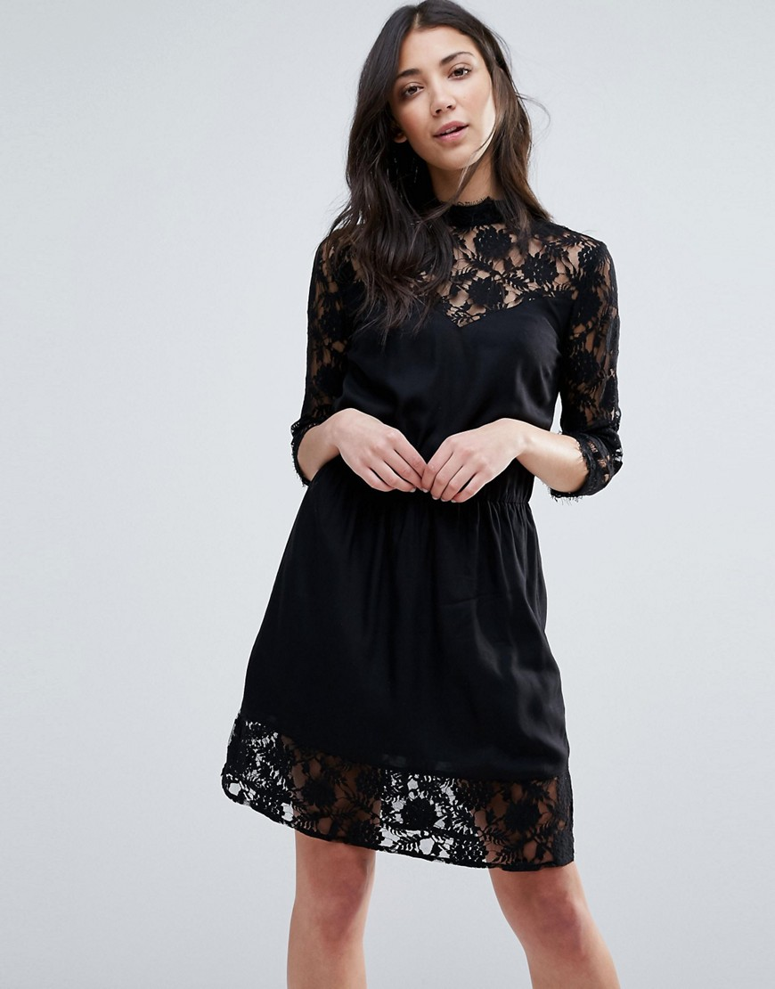 Vila Lace Smock Dress - Black