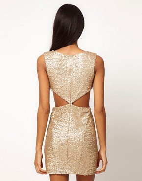 Image 2 ofTFNC Sequin Dress with Cut Outs