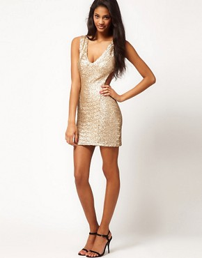 Image 4 ofTFNC Sequin Dress with Cut Outs