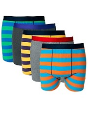 River Island 5 Pack Striped Trunks