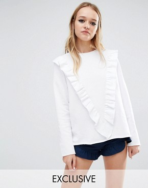 Reclaimed Vintage Sweat Jumper With Deep V Frill