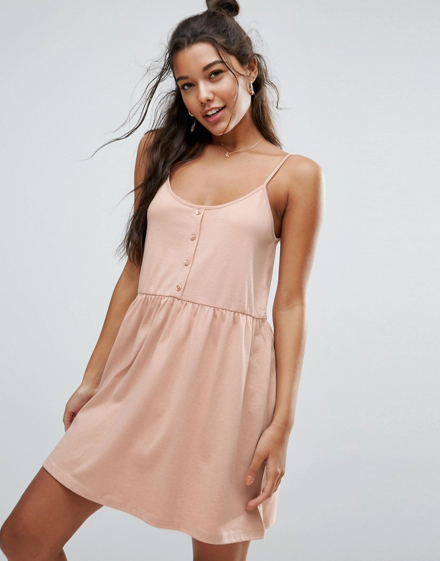 ASOS Cami Smock Dress with Button Placket - Pink