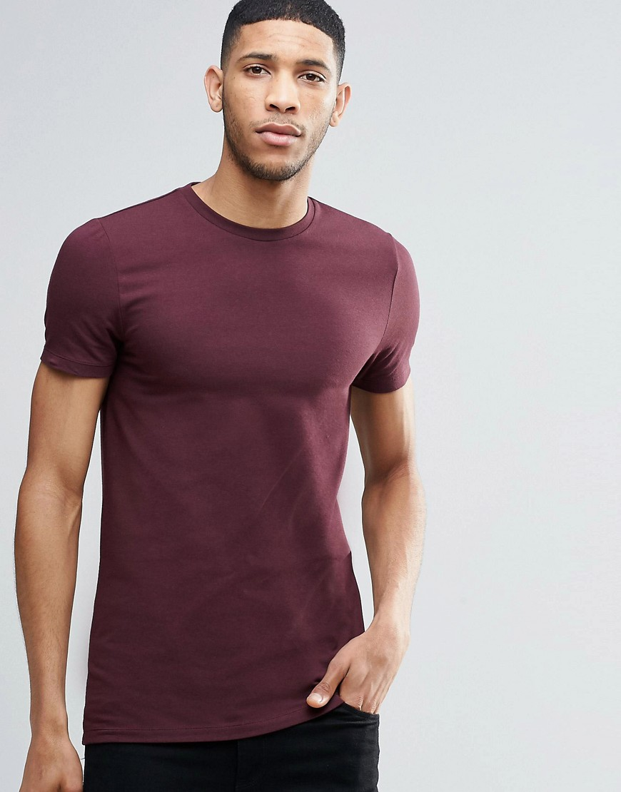 ASOS Longline Muscle T-Shirt In Oxblood - Red