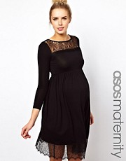 ASOS Maternity Skater Dress With Lace Trim