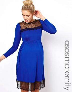 Image 1 ofASOS Maternity Skater Dress With Lace Trim