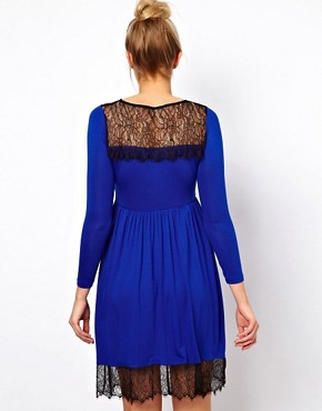 Image 2 ofASOS Maternity Skater Dress With Lace Trim