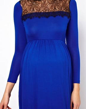 Image 3 ofASOS Maternity Skater Dress With Lace Trim