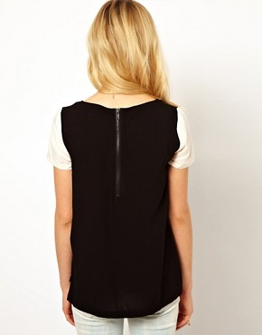 Image 2 ofMango Two-Tone Loose Fit Blouse