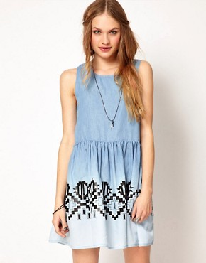 Image 1 ofMinkpink Chambray Dress In Wind Walker Print