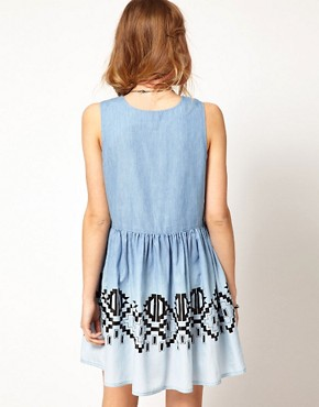 Image 2 ofMinkpink Chambray Dress In Wind Walker Print