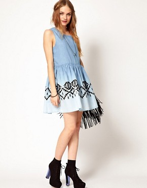 Image 4 ofMinkpink Chambray Dress In Wind Walker Print