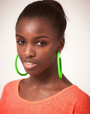 Image 2 ofASOS Neon Plastic Hoop Earrings