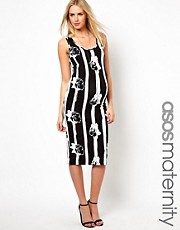 ASOS Maternity Bodycon Dress in Monochrome Stripe Floral
