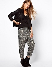 Ganni Peg Trousers in Tapestry Print