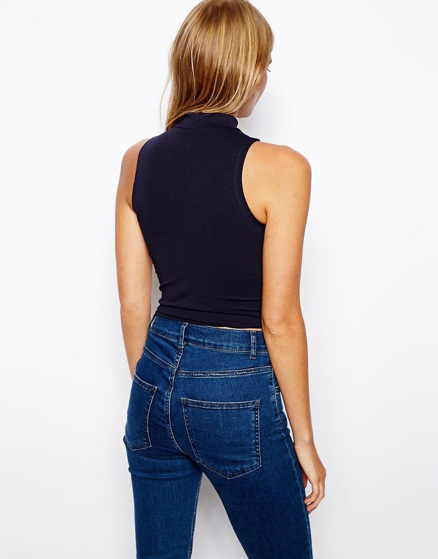 Image 2 of ASOS PETITE Crop Top With Turtle Neck