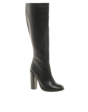 Image 1 ofASOS CINNAMON Leather Knee High Boots
