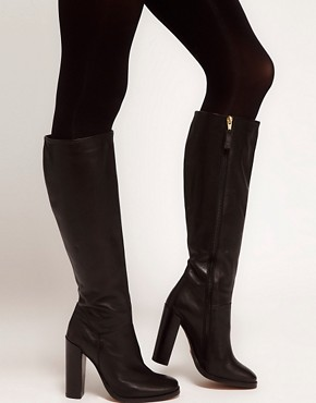 Image 3 ofASOS CINNAMON Leather Knee High Boots